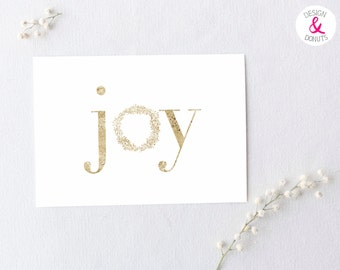 Printable Holiday Cards, Joy, Silver, Foil, Christmas Card, Instant Download