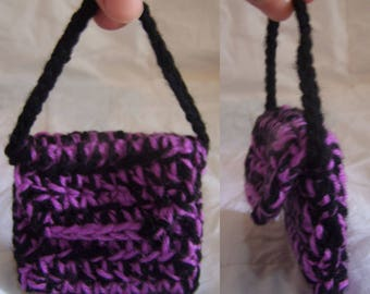Purple and Black 7cm Coin Purse with Strap and Press Stud