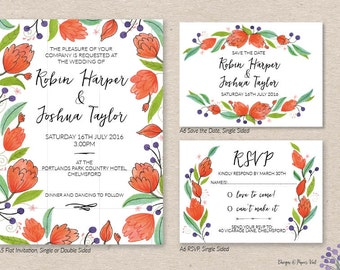Orange Bloom Invitation Set