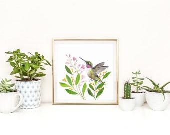Hummingbird Art, Hummingbird Print, Printable Hummingbird, Square Wall Art, Hummingbird Painting, Watercolour Hummingbird, Gallery Wall Art