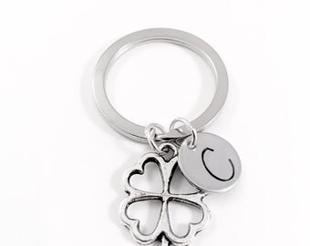 Four leaf clover keychain, Lucky charm keyring, Irish clover, St Patricks Day, wedding bouquet charm, best wishes gift, good luck new job