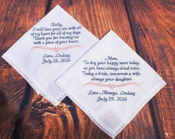 Wedding Gifts Between Parents : Mother of Bride and Groom Gift Set Wedding Hankerchief For
