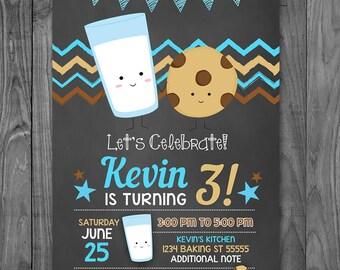 Milk and Cookies Birthday Invitation Chalkboard Blue - Cookies & Milk Invitation Birthday - Cookies Milk Party Favor - Printable Invite
