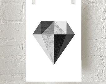 Diamond Print, Geometric art, Minimalist Poster, Scandinavian print, Black White Wall Art, Geometric Print, Large Abstract Print, Monochrome
