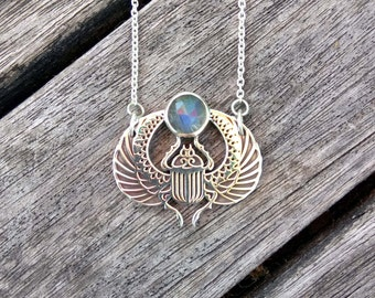Sterling Silver Scarab Beetle Necklace / Labradorite Necklace / Silver and Labradorite Choker Necklace