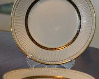 2 Rare Sterling China Plates/ Black and Gold Greek Key Design/ Vintage Restaurant China/ GM 74