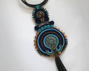 Navy blue copper turquoise  tassel necklace Statement necklace soutache necklace OOAK collier soutache