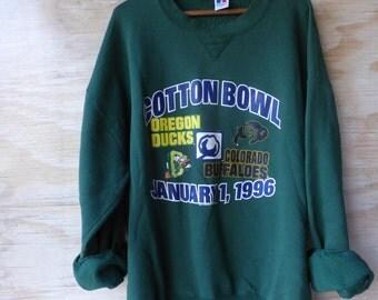 1996 Cotton Bowl Sweatshirt - University of Oregon  VS Colorado Buffalos Oregon Ducks Size XXL Duck SweatshirtL