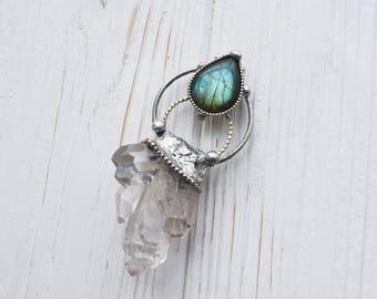 Raw crystal necklace - Silver crystal necklace - Raw crystal necklace - Rough quartz crystal pendant - Raw gemstone jewelry - Boho jewelry