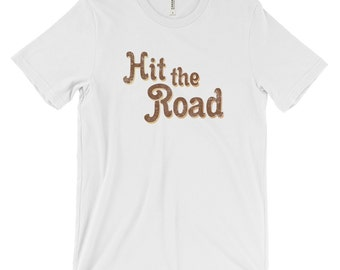 Hit the Road Vintage Design Lettering Graphic Tee