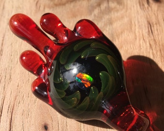 Dragon's Blood Drip Fume Implosion Glass Pendant with Opal