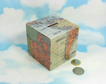 South America Map Money Box, Map Decor, Wanderlust Money Box, Travel Decor, Map Money Box, Map Piggy Bank, Travel Fund Gift, Map Gift