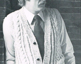 Vintage Knitting Pattern - Men's Vest with Cables and Pockets - PDF Download - Retro - 1970s 70s - Knitting for men - waistcoat