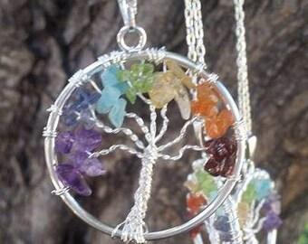 "Chakra Tree of Life ~ Genuine Gemstone ~ Includes 18"" Silver Plated Chain ~ Garnet, Amethyst, Citrine, Peridot, Aquamarine, Chakra balancing"