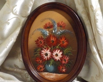 """Vintage 70's Floral Oil Painting Oval Frame 10.5"""" X 8"""" Unsigned"""