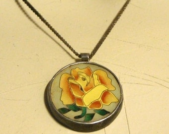 Enameled yellow rose pendant with sterling chain