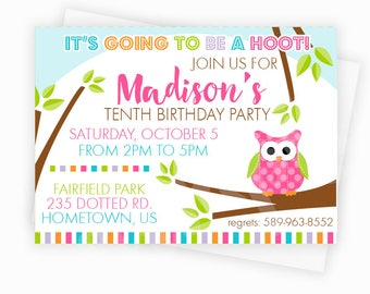 Pink Polka Dot Owl Birthday Party Invitation, Custom Printed Party Invitation or DIY Owl Party Invitation, Printable Owl Party Invitation
