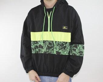 Vintage 80s Hobie Surf Neon Green Yellow Black Zip Up Jacket - Rad Surfer hooded Quarter Zip Windbreaker - Sz Medium
