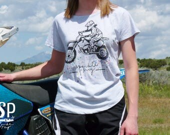Womens Dirt Bike Motocross Rainbow Roost Dolman Shirt