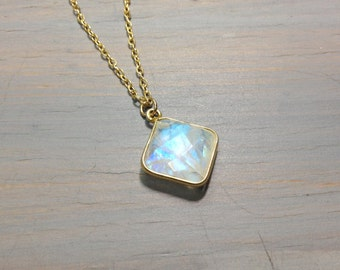 Rainbow moonstone with gold filled chain necklace jewelry