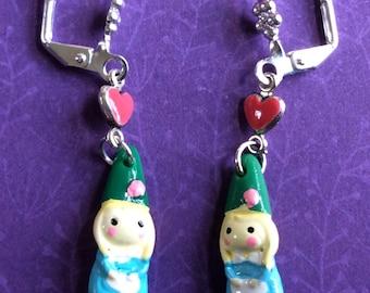 GNOME earrings. Garden gnome earrings. Elf earrings. Pixie earrings. Sprite earrings. Santa earrings. Gnome Jewelry. Elf jewelry. Girl charm