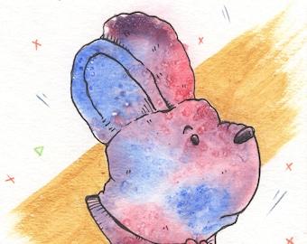 Rabbit Bear, 4x6 Original Watercolor Ink Illustration