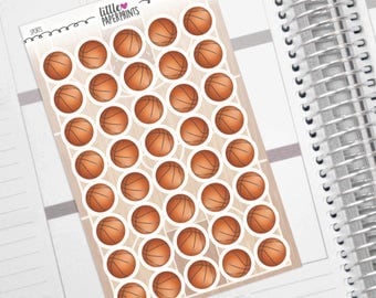 "40 Basketball Stickers - ""Regular Basketball"" Stickers - Exclusive Decorative Planner Sport Stickers"