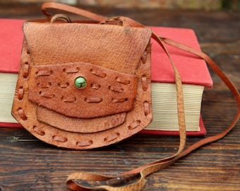 Change Purse - Leather Coin Pouch - Small Leather Coin Purse - Brown Leather Wallet - Vintage Coin Pouch - Hippie Pouch - Boho Purse