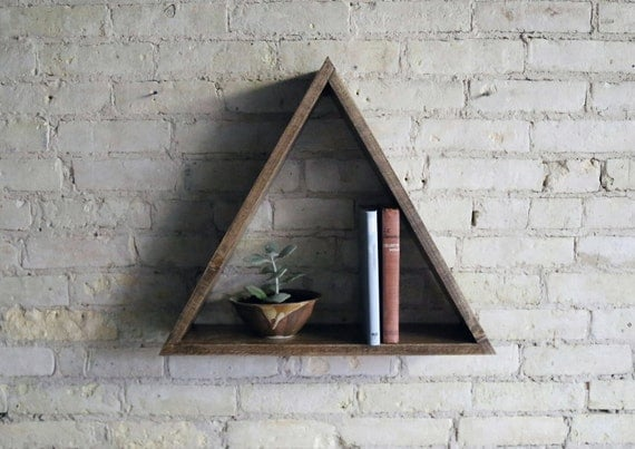 Triangle Wood Floating Shelf, Decor, Walnut or Jacobean