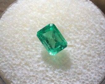AMAZING Intense Green Emerald .90ct Emerald Cut 7x5mm AAA Quality Faceted Natural Genuine Loose Gemstone Wholesale Pricing A314
