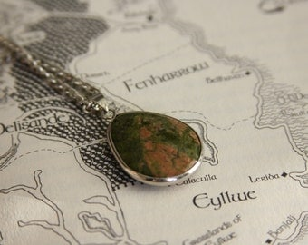 Unakite Pendant Necklace (Wuthering Heights Jewelry) // Catherine Necklace