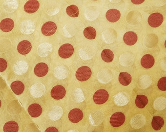 """Dressmaking Fabric, Red Polka Dot, Sewing Craft, Yellow Brocade Fabric, Quilt Material, 45"""" Inch Apparel Fabric By 3 Yard ZB63"""