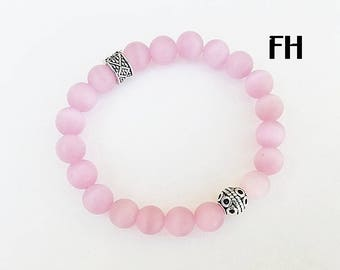 Women's Bracelet, Women's Jewelry, Pink Cat's Eye, Beaded Bracelet, Gemstone Jewelry, Gifts for Her, Healing Bracelet, Stretch Bracelet