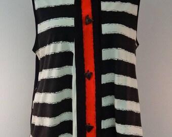 Horizontal Striped Sleeveless Cotton Tunic - FA15-5030