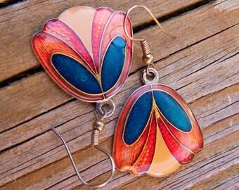 Vintage Cloisonne Exotic Flower Earrings, Multi Color Dangle Piersed Silver Tone Earrings, Red Orange Yellow Navy Blue Enamel Earrings,1970s