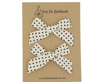 Ivory + Black Dots Hand-Tied Bow // Pigtail Set