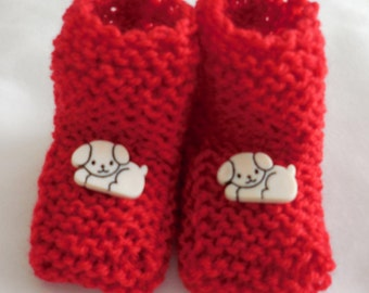 Handmade knit Red Booties with White Doggies