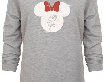 Disney Minnie inspired Glitter Rose Valentine head Vacation sweatshirt