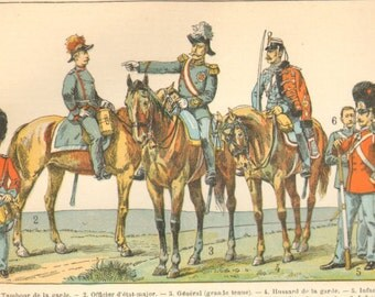 1890's Antique French Denmark Print Armies Weapons Flags Larousse Original Lithograph Book Plate