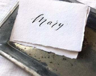 Calligraphy Place Cards // Handmade Paper // Deckled Edge // Custom