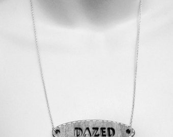 DAZED NECKLACE - laser cut wood on sterling silver chain wooden sign vintage style steampunk label cut out pendant jewellery