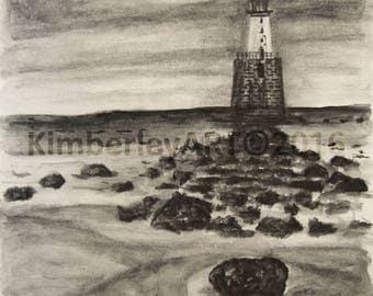 Lighthouse Sketch Print, Rattray Head, Scotland Lighthouse Art Print, Nautical Theme Wall Print, Coastal Wall Art Print, Scottish Lighthouse