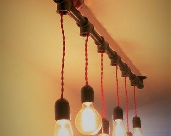 Industrial pipes of cast iron black chandelier