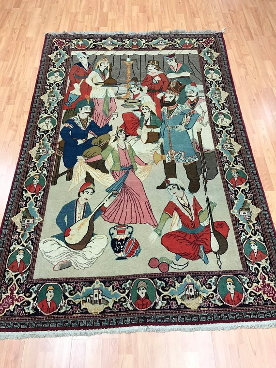 "4'9"" x 6'9"" Antique Persian Kashan Oriental Rug - Nader Shah - 1910s - Hand Made - 100% Wool"