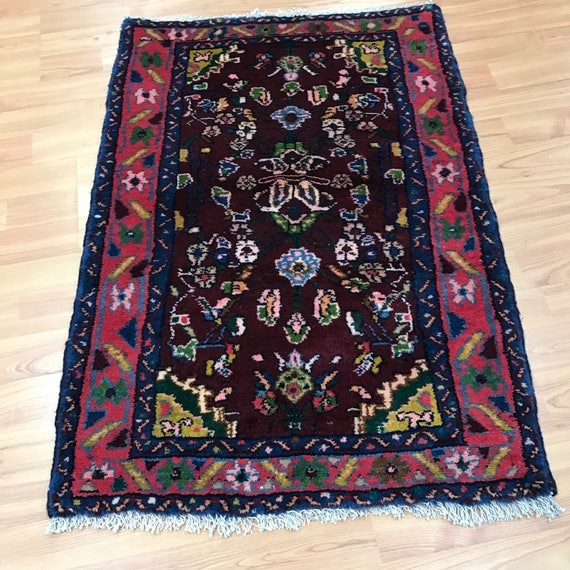 2' x 3' Persian Hamadan Oriental Rug - Full Pile - Hand Made - 100% Wool