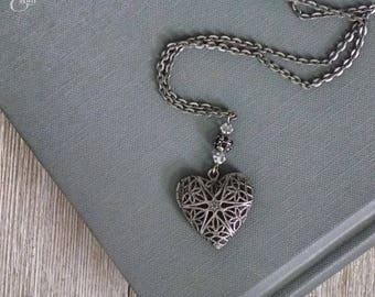 Silver Heart Filigree Locket Necklace | Heart Locket | Single-Strand Design