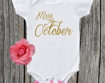 Miss October , Birthday Onesie , Newborn , Birth month , Baby girl , Photo Prop , Cake Smash