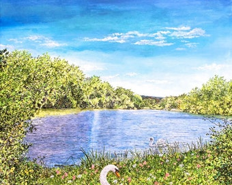 Swan Print - Lake Painting - Water Painting - Bird Art Print - Landscape Painting - Nature Art - Fine Art Print - Matted Print
