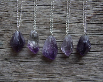 Long Amethyst Necklace / Raw Crystal Necklace