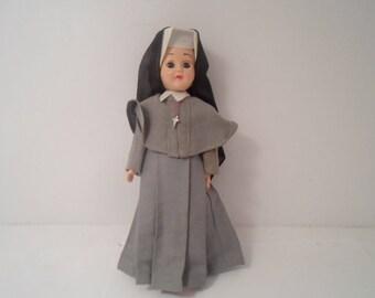 "Vintage 60's Grey Nun Storybook 7"" Doll possibly Dominican Postulant Catholic Nun"